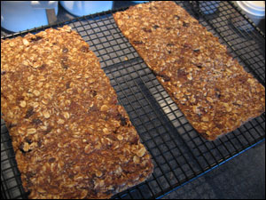 Homemade granola bars on rack
